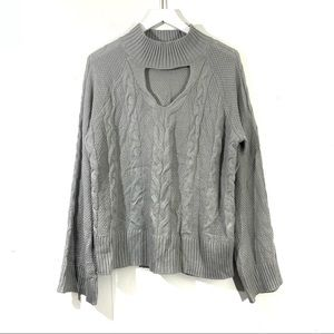 ANA Gray Cable Knit Choker Wide Sleeve Sweater